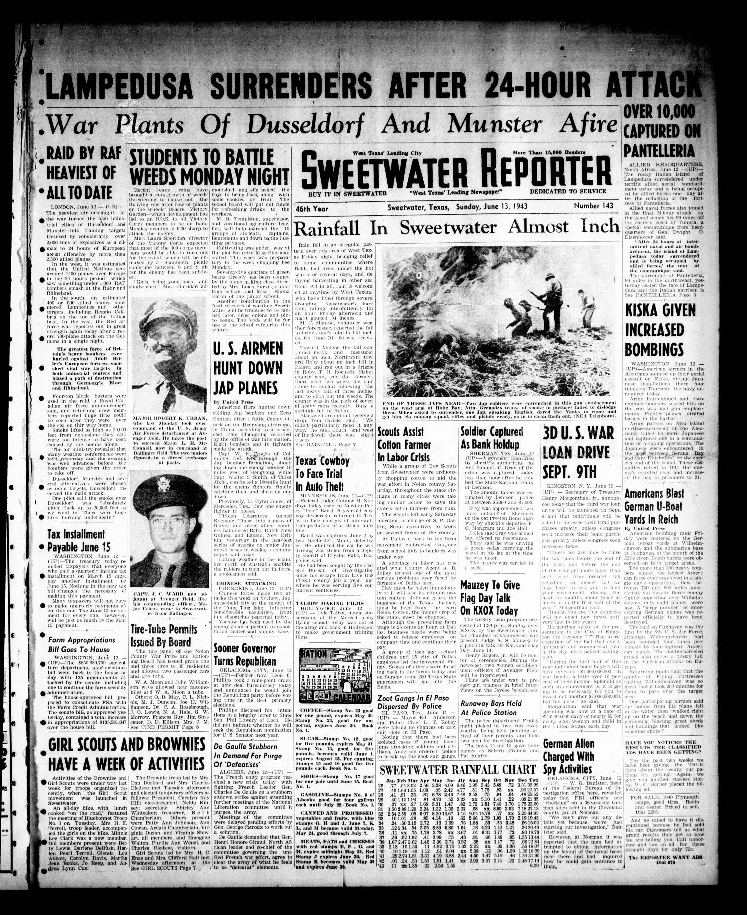 Sweetwater Reporter (Sweetwater, Tex.), Vol. 46, No. 143, Ed. 1 Sunday, June 13, 1943                                                                                                      [Sequence #]: 1 of 16