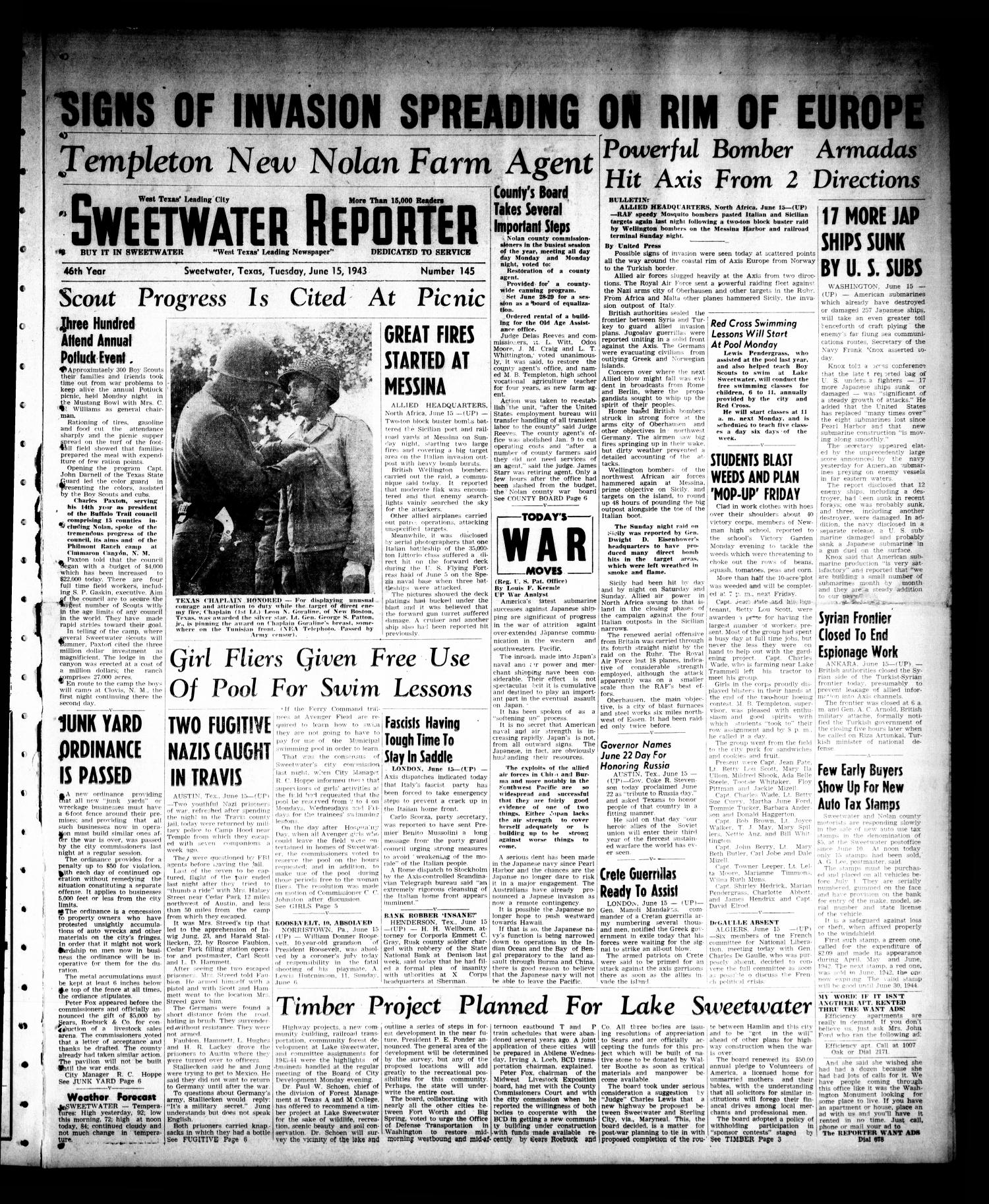 Sweetwater Reporter (Sweetwater, Tex.), Vol. 46, No. 145, Ed. 1 Tuesday, June 15, 1943                                                                                                      [Sequence #]: 1 of 6