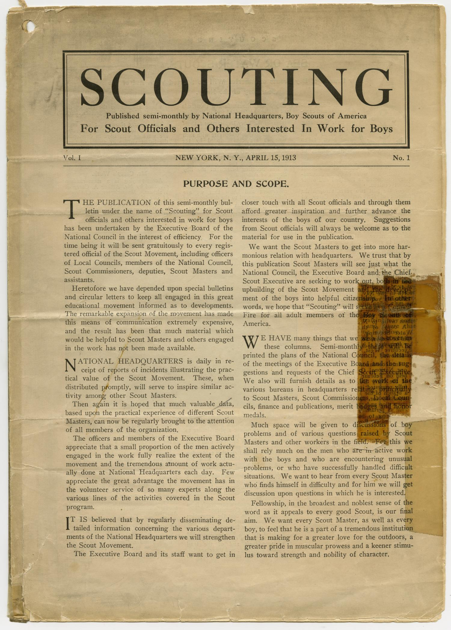 Scouting, Volume 1, Number 1, April 15, 1913                                                                                                      1