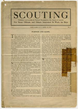 Primary view of object titled 'Scouting, Volume 1, Number 1, April 15, 1913'.