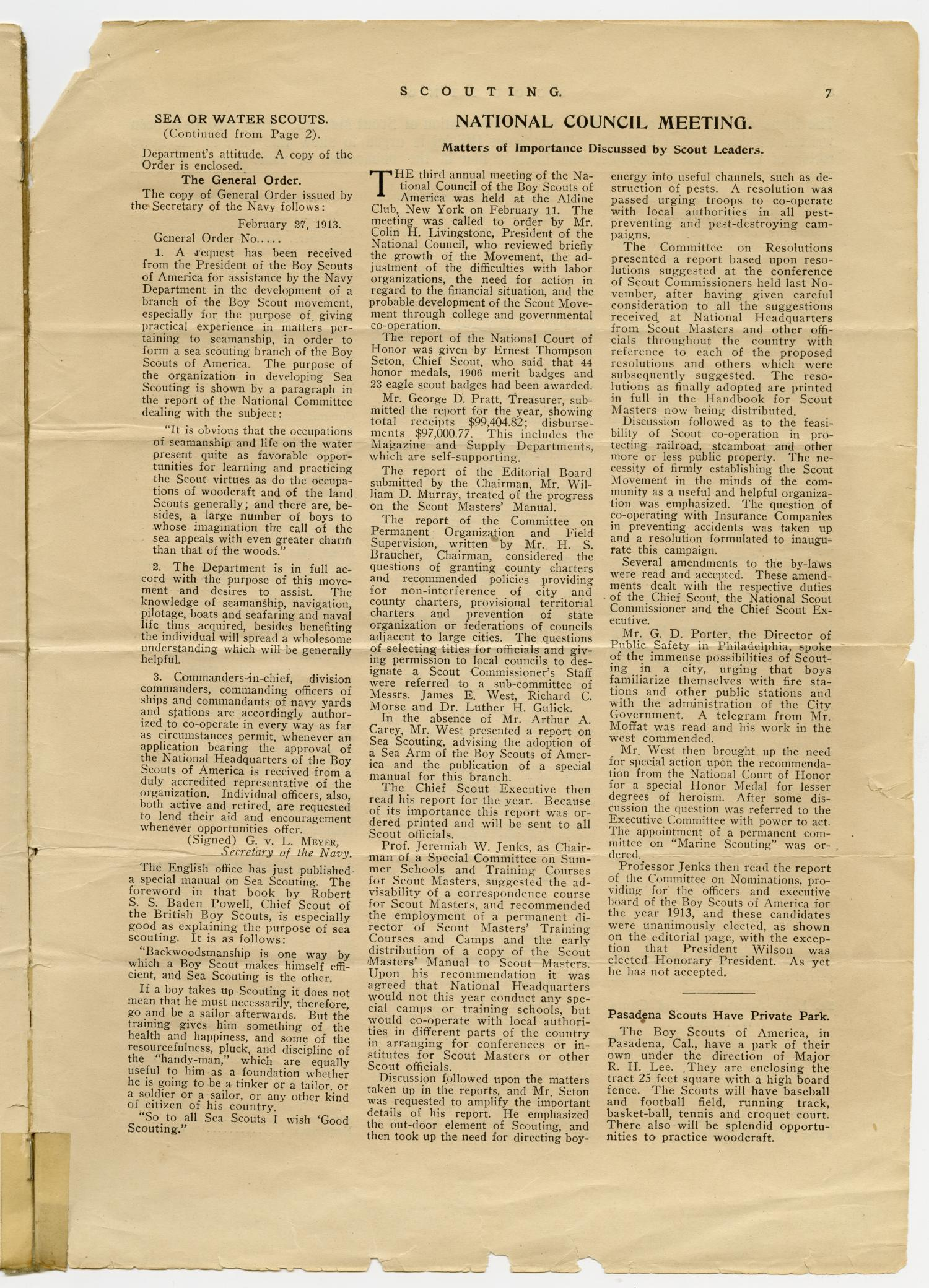 Scouting, Volume 1, Number 1, April 15, 1913                                                                                                      7