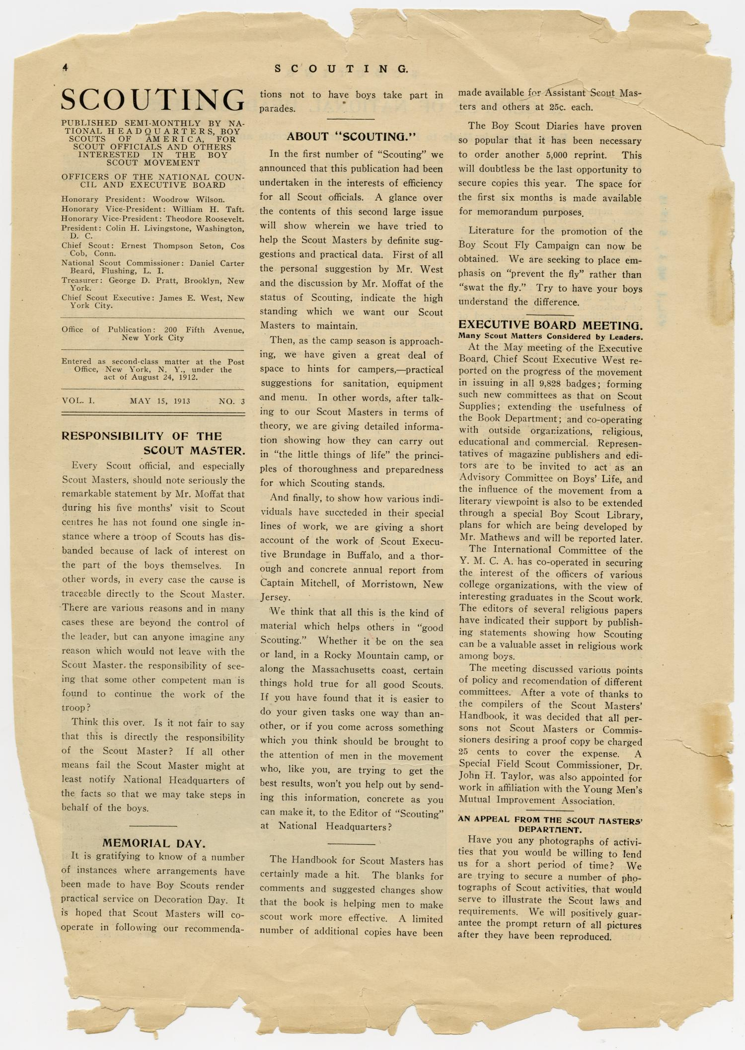 Scouting, Volume 1, Number 3, May 15, 1913                                                                                                      4