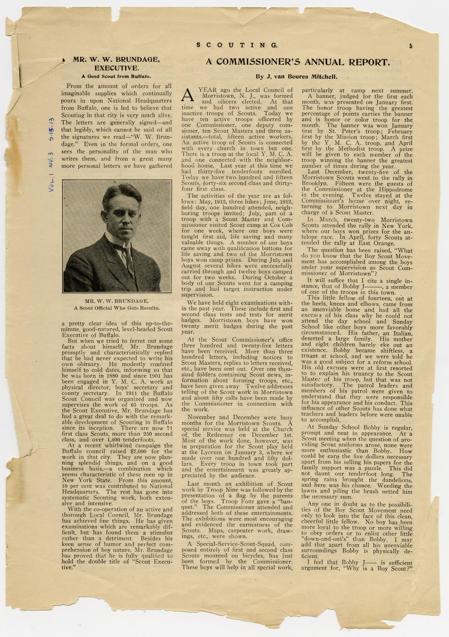 Scouting, Volume 1, Number 3, May 15, 1913                                                                                                      5