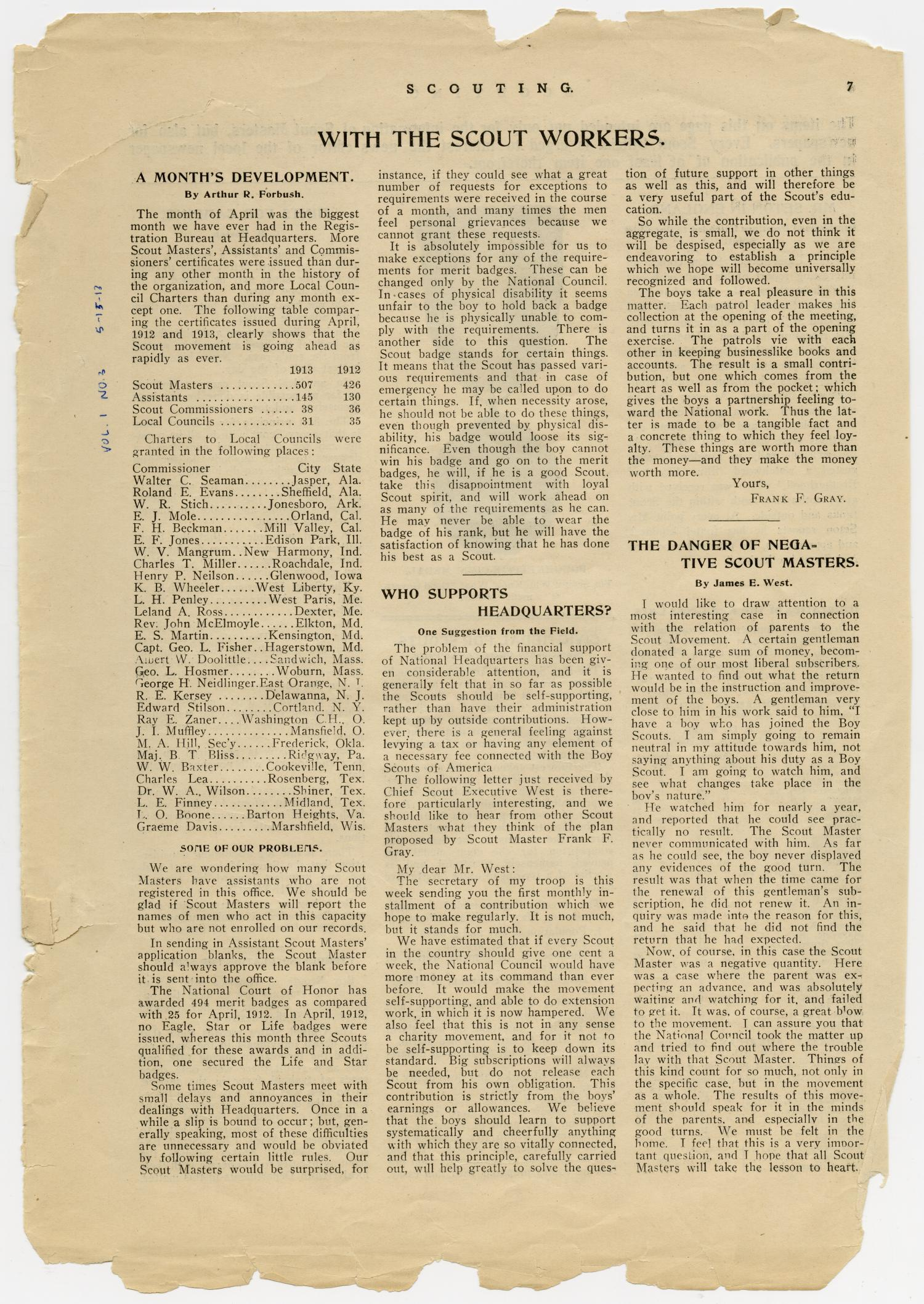 Scouting, Volume 1, Number 3, May 15, 1913                                                                                                      7