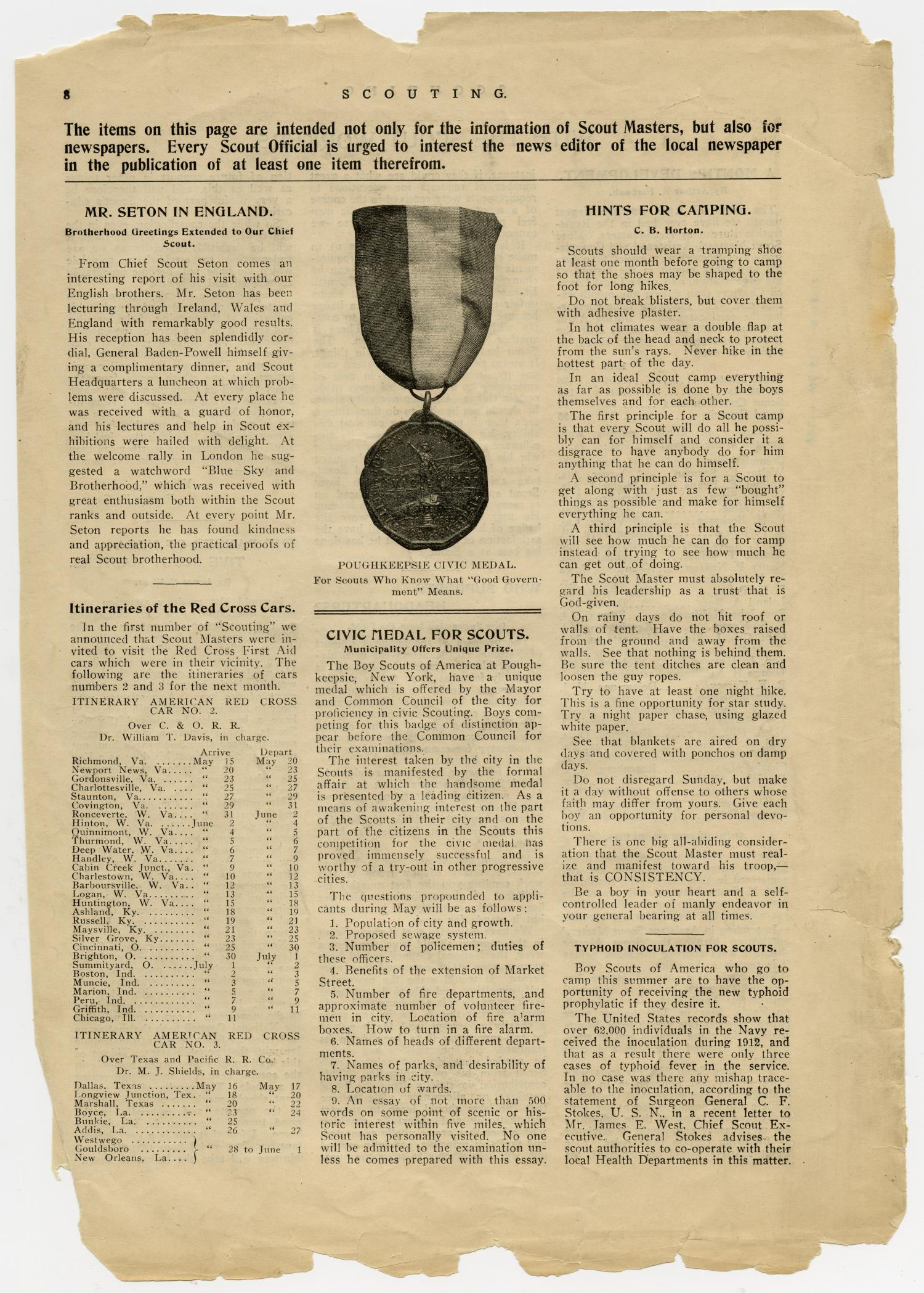 Scouting, Volume 1, Number 3, May 15, 1913                                                                                                      8