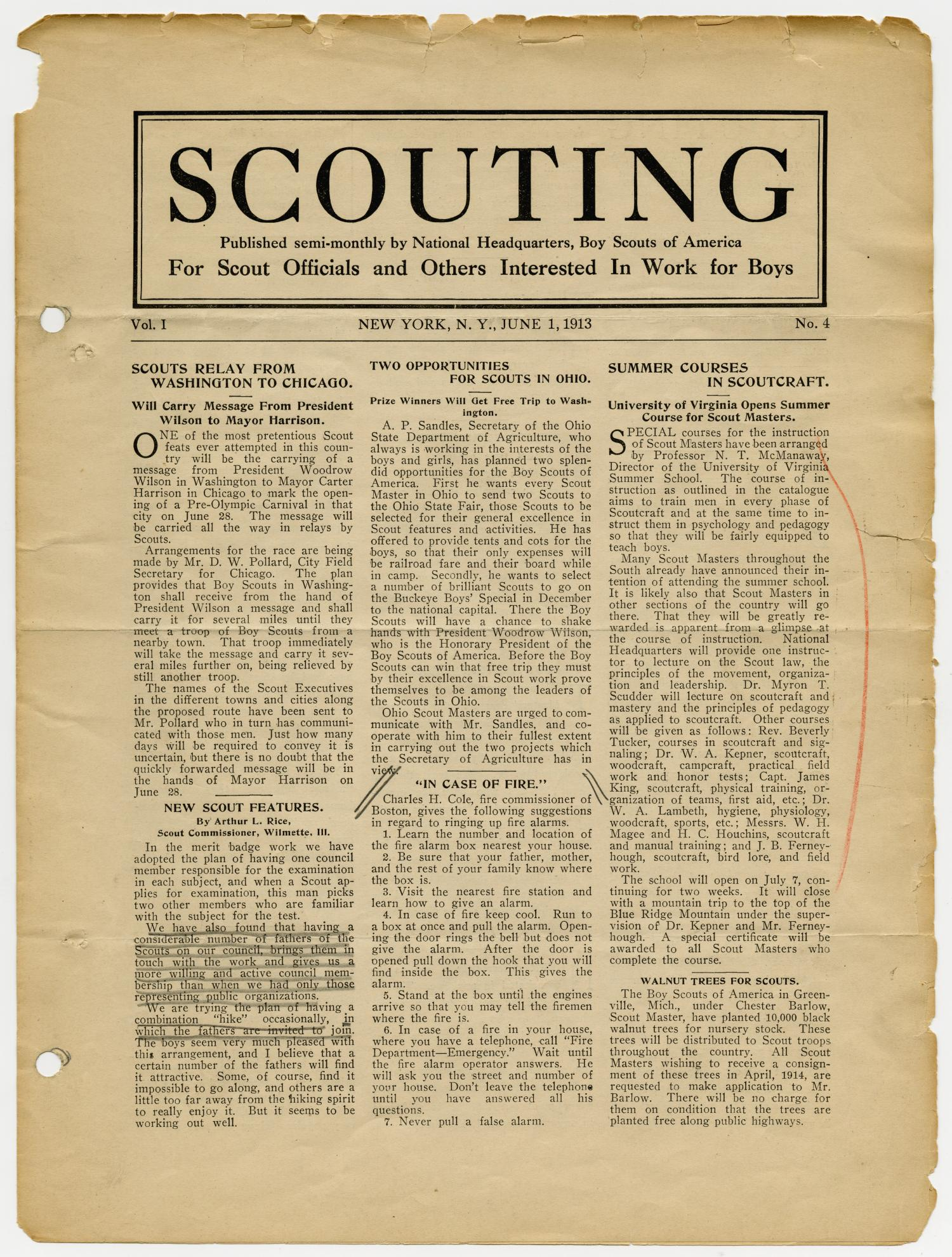 Scouting, Volume 1, Number 4, June 1, 1913                                                                                                      1