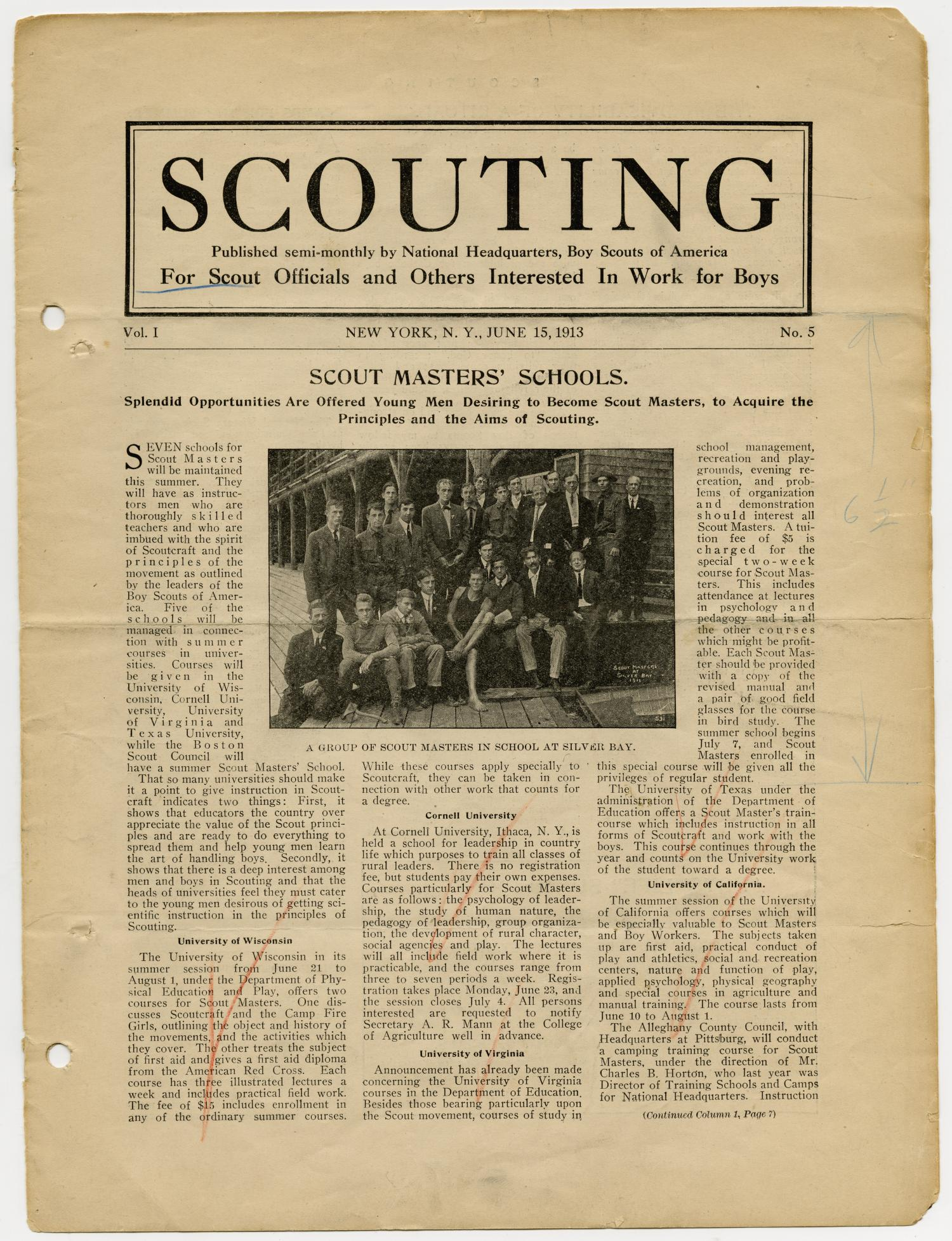 Scouting, Volume 1, Number 5, June 15, 1913                                                                                                      1