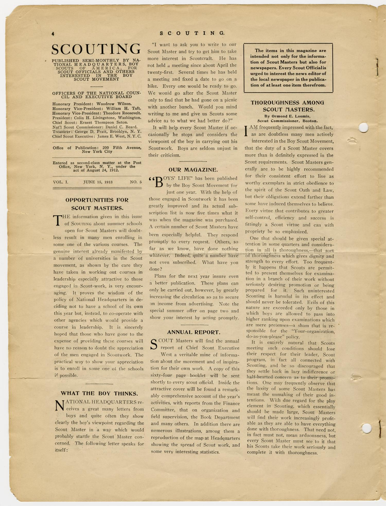Scouting, Volume 1, Number 5, June 15, 1913                                                                                                      4