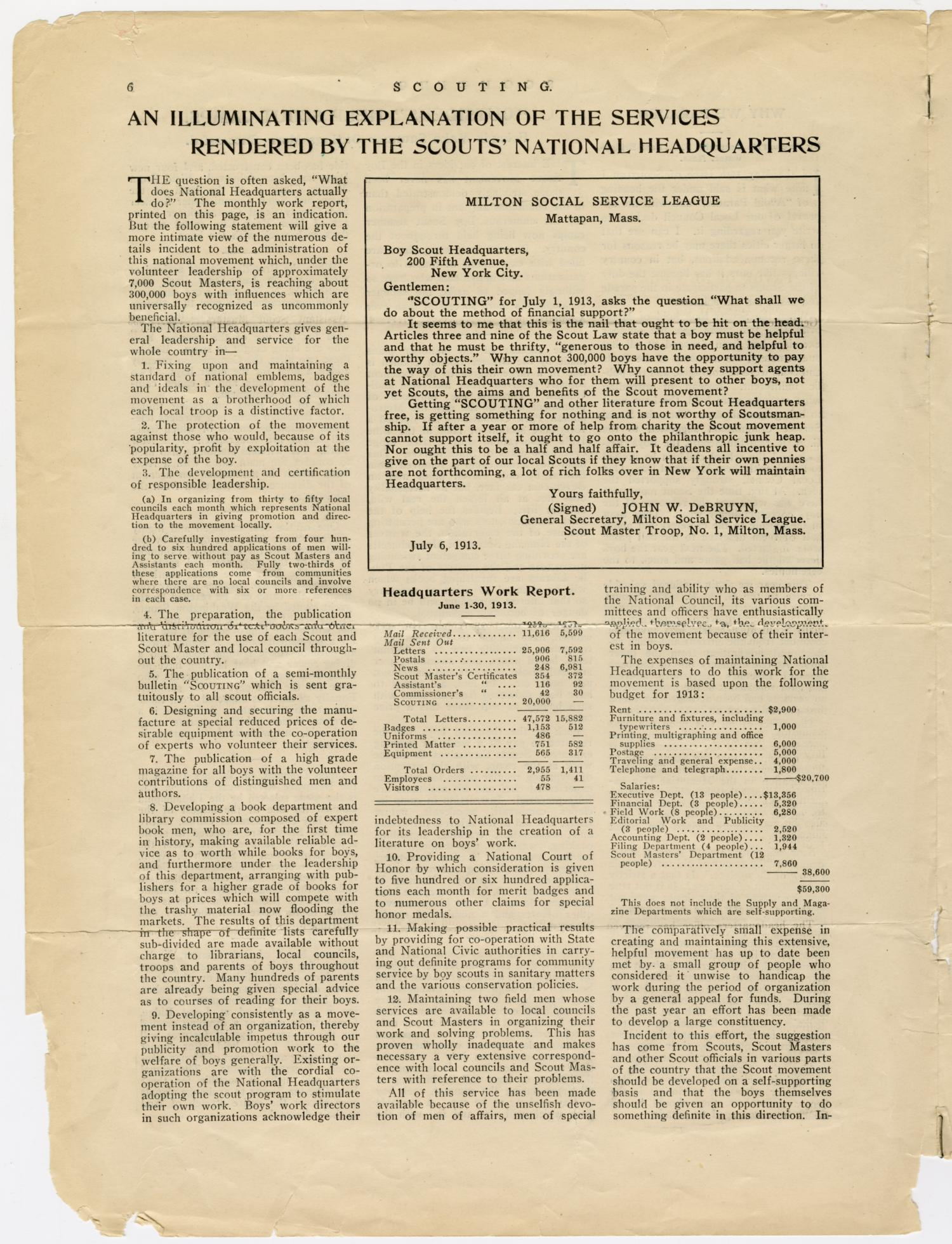 Scouting, Volume 1, Number 7, July 15, 1913                                                                                                      6