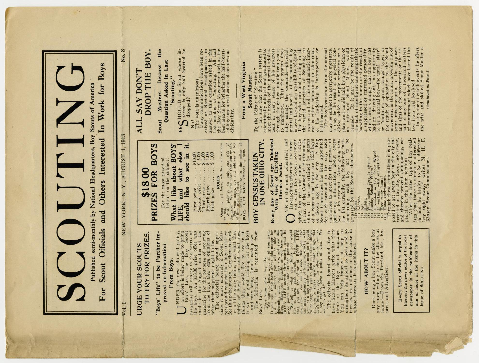 Scouting, Volume 1, Number 8, August 1, 1913                                                                                                      1