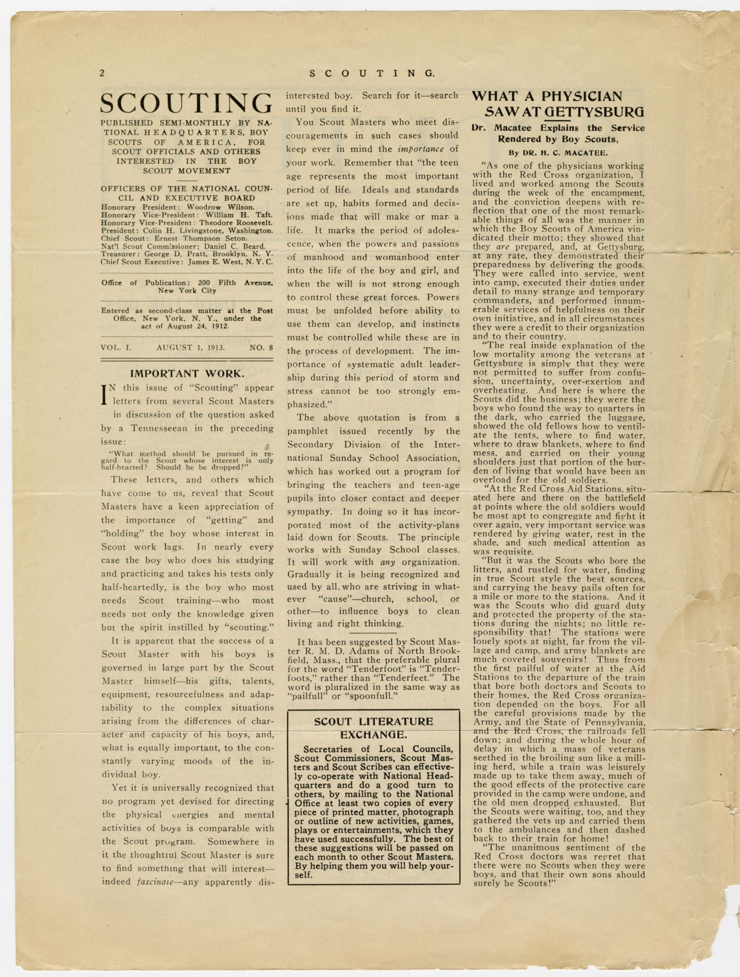 Scouting, Volume 1, Number 8, August 1, 1913                                                                                                      2