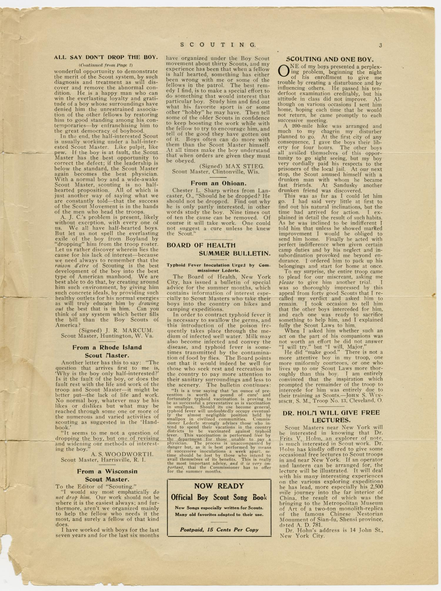 Scouting, Volume 1, Number 8, August 1, 1913                                                                                                      3