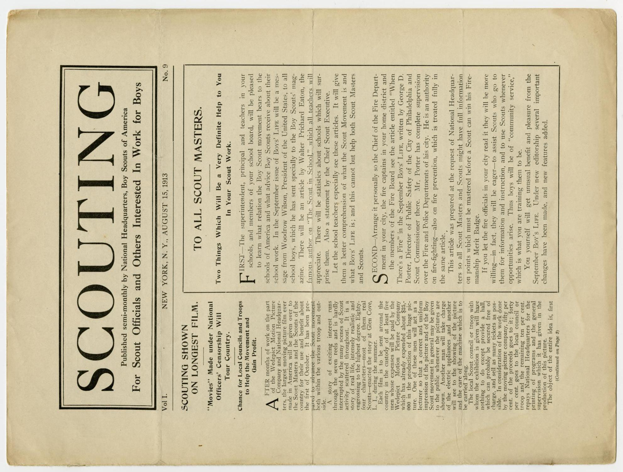 Scouting, Volume 1, Number 9, August 15, 1913                                                                                                      1