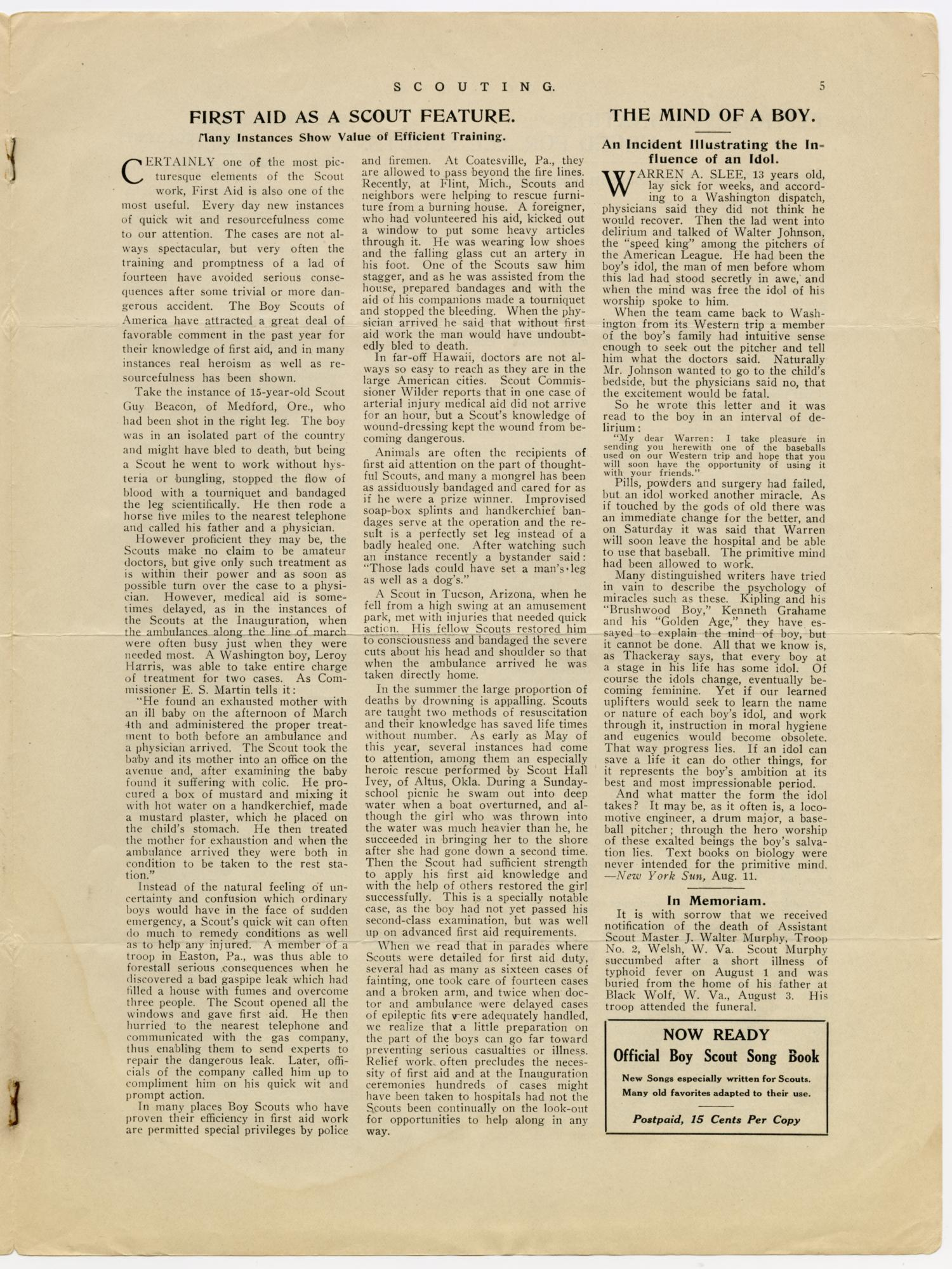 Scouting, Volume 1, Number 9, August 15, 1913                                                                                                      5