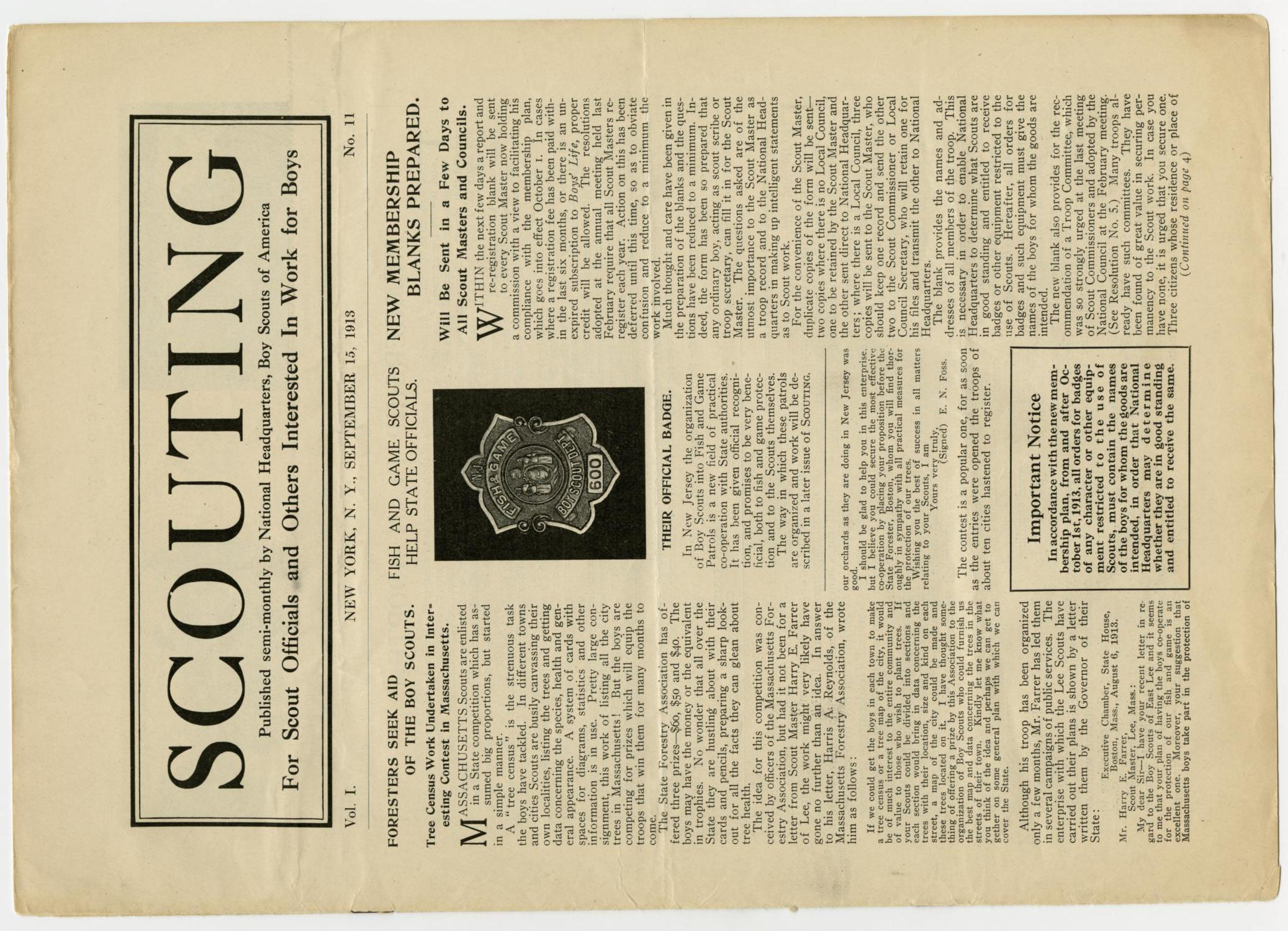 Scouting, Volume 1, Number 11, September 15, 1913                                                                                                      1