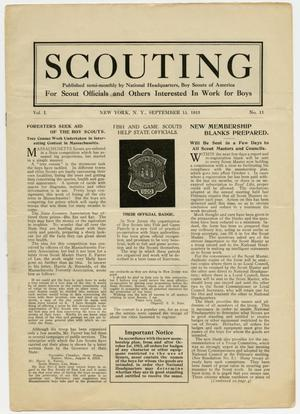 Primary view of object titled 'Scouting, Volume 1, Number 11, September 15, 1913'.
