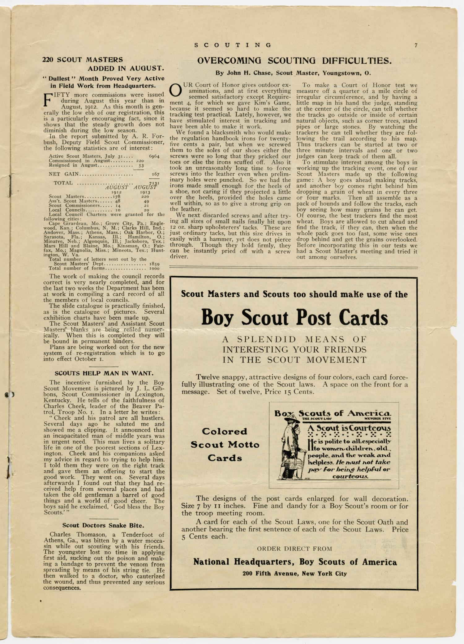 Scouting, Volume 1, Number 11, September 15, 1913                                                                                                      7