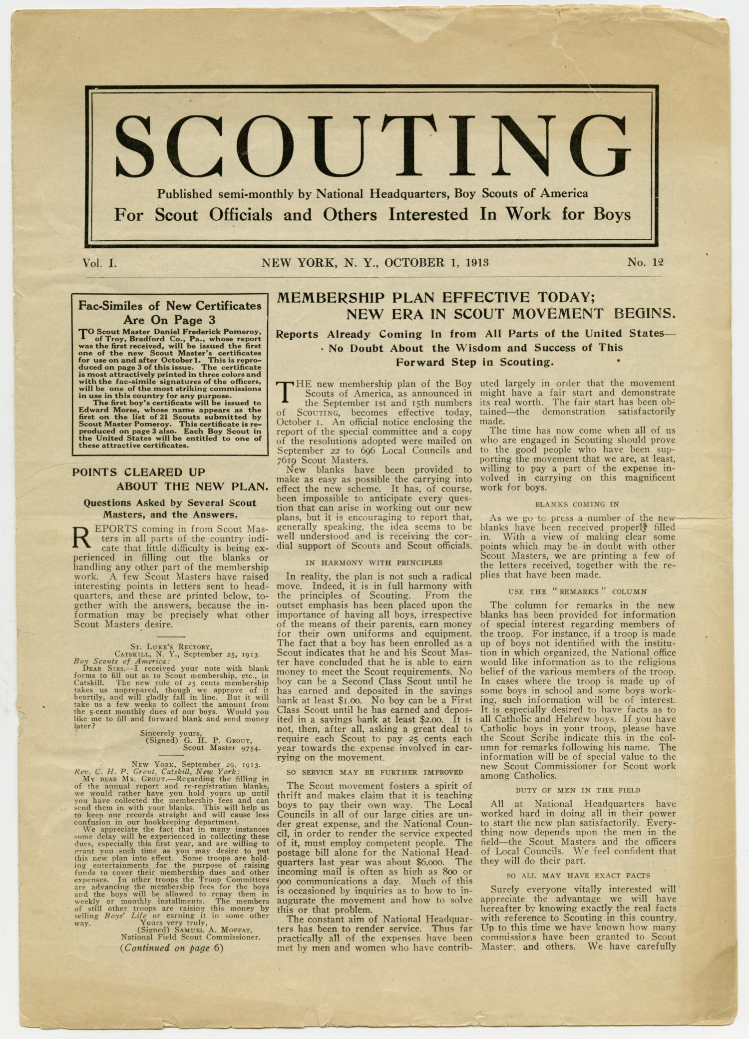 Scouting, Volume 1, Number 12, October 1, 1913                                                                                                      1