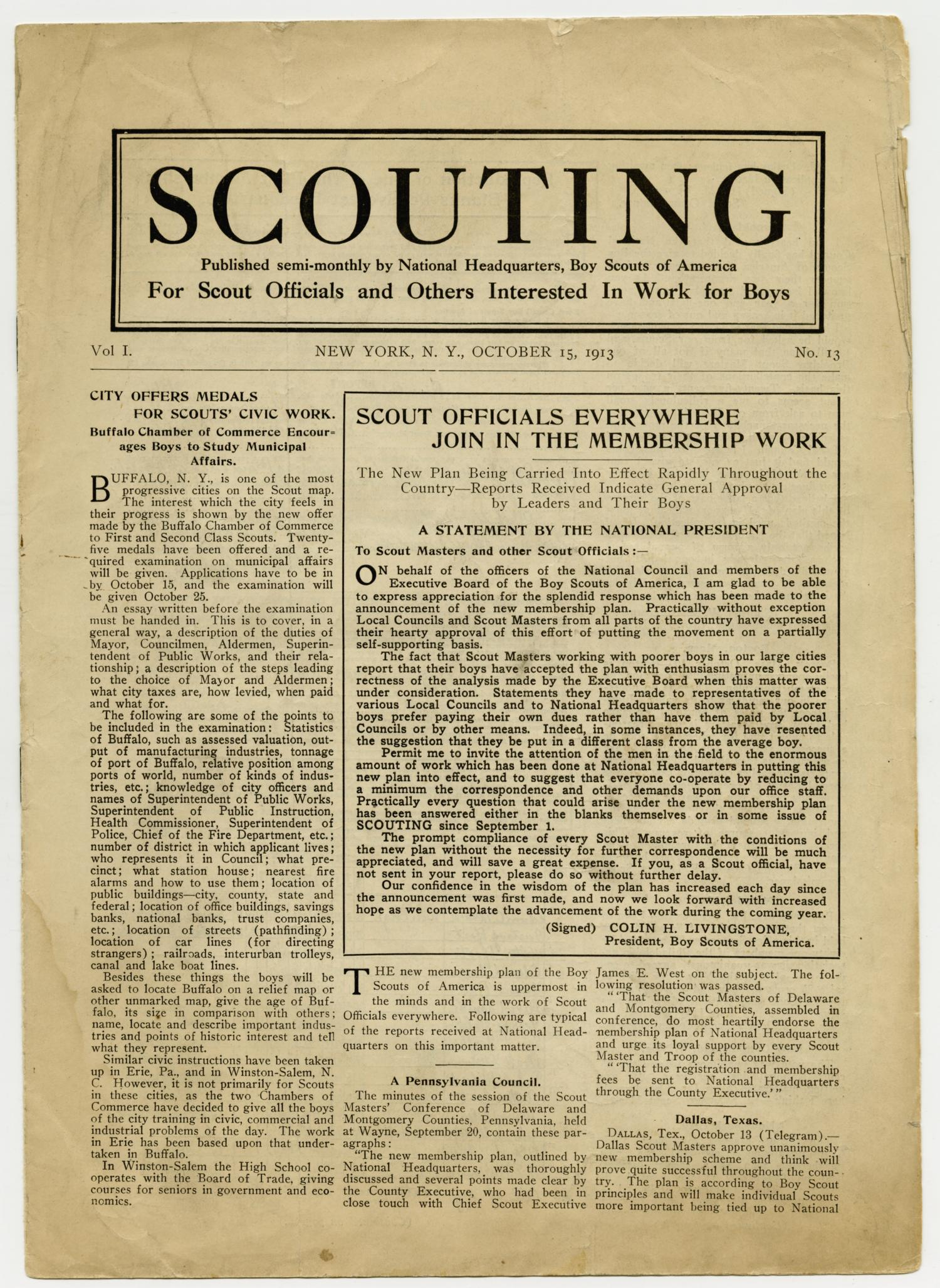 Scouting, Volume 1, Number 13, October 15, 1913                                                                                                      1