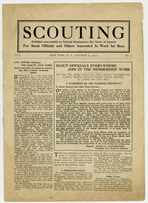 Primary view of object titled 'Scouting, Volume 1, Number 13, October 15, 1913'.