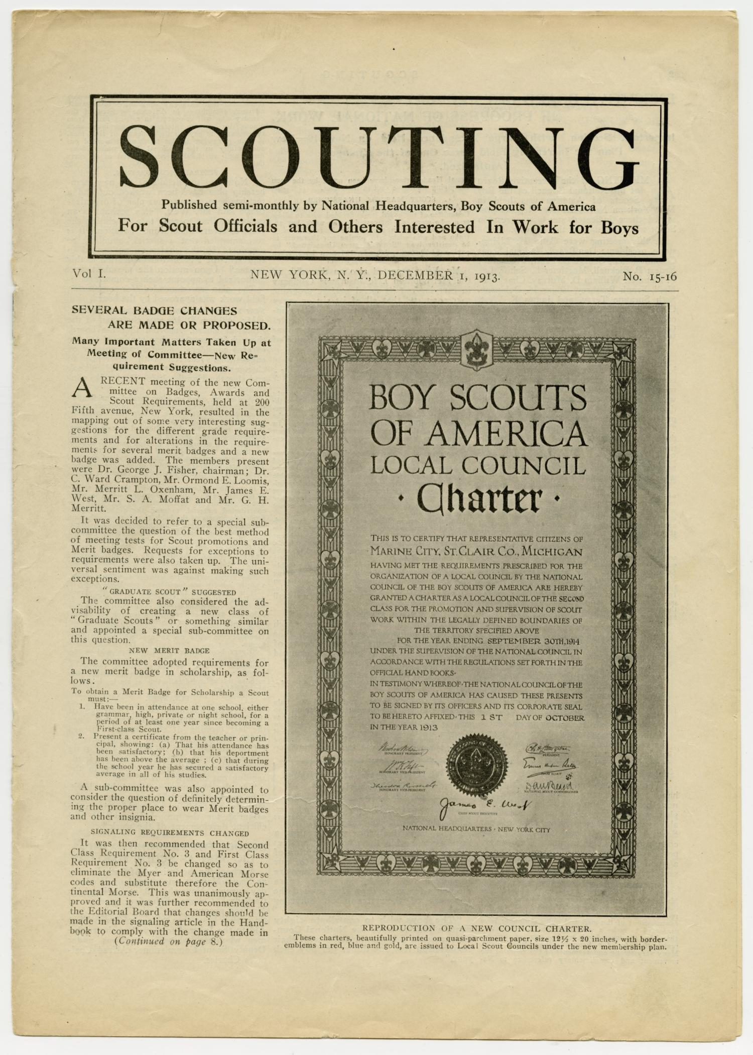 Scouting, Volume 1, Number [15], December 1, 1913                                                                                                      1