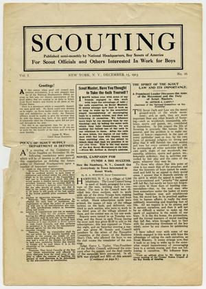 Primary view of object titled 'Scouting, Volume 1, Number 16, December 15, 1913'.
