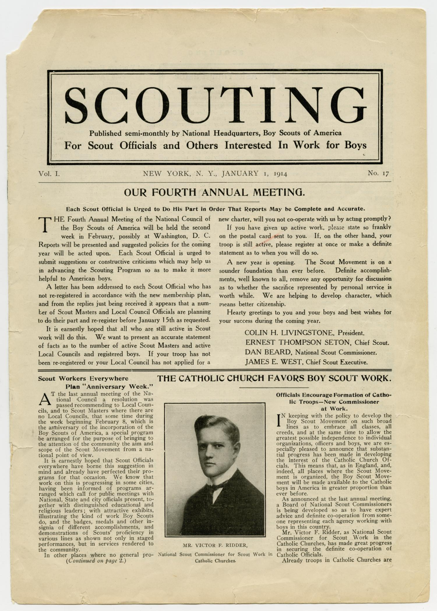 Scouting, Volume 1, Number 17, January 1, 1914                                                                                                      1