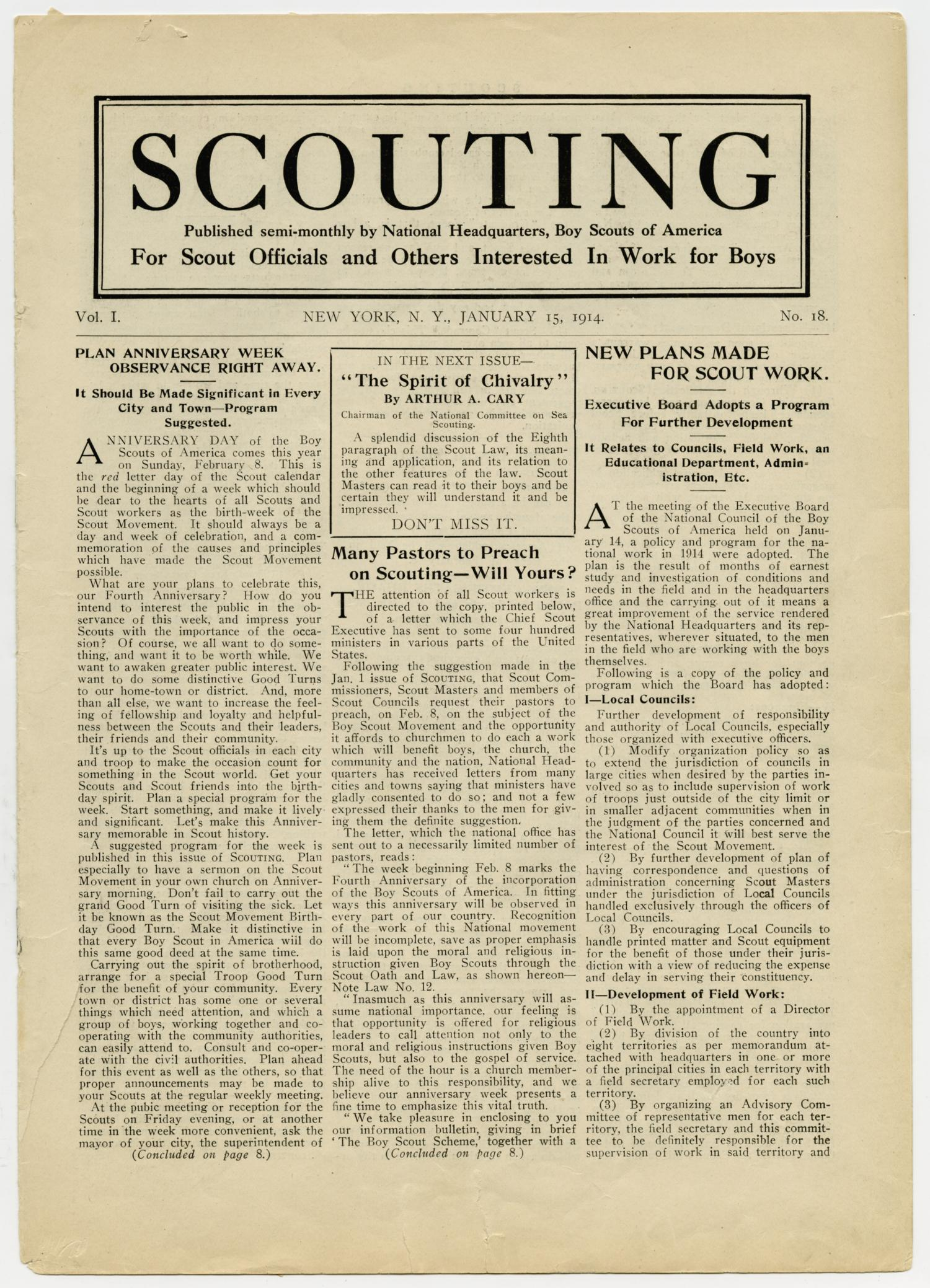 Scouting, Volume 1, Number 18, January 15, 1914                                                                                                      1