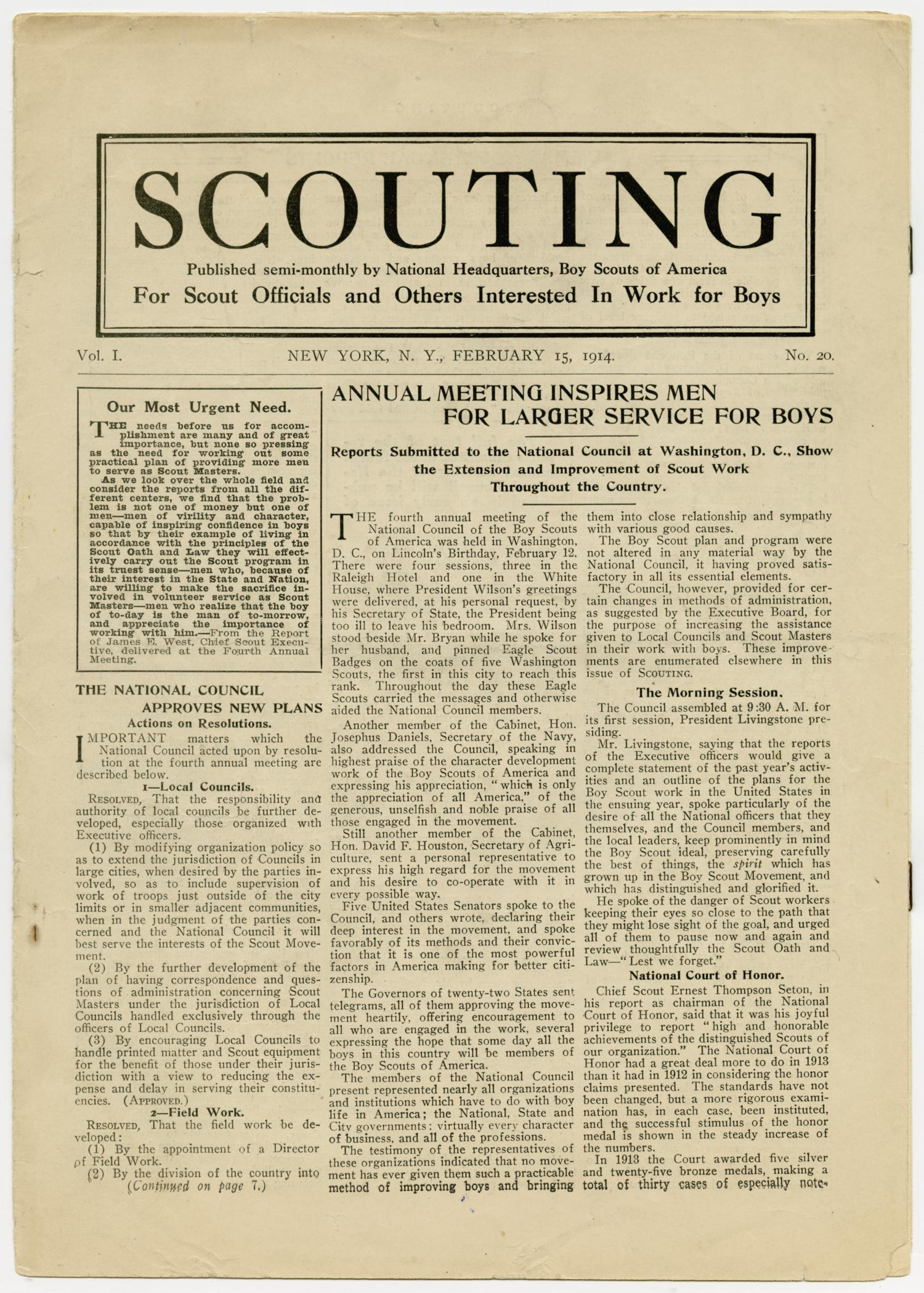 Scouting, Volume 1, Number 20, February 15, 1914                                                                                                      1
