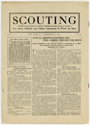 Primary view of object titled 'Scouting, Volume 1, Number 20, February 15, 1914'.