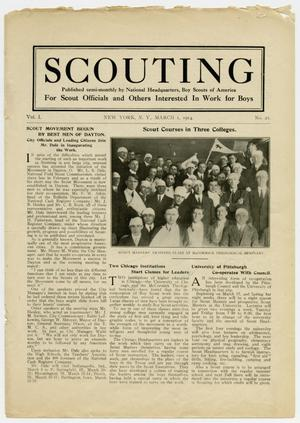 Primary view of object titled 'Scouting, Volume 1, Number 21, March 1, 1914'.