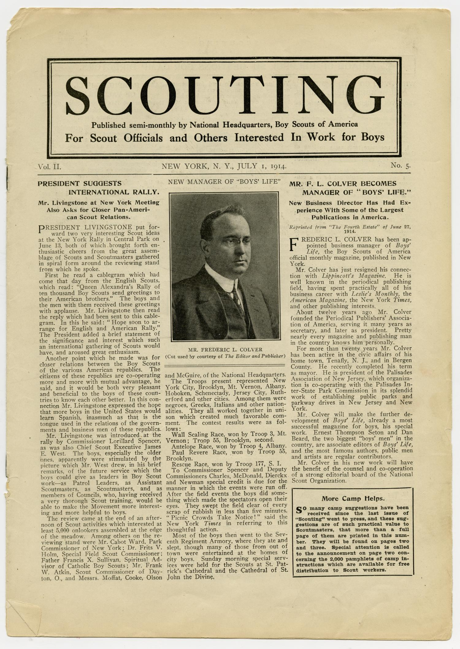Scouting, Volume 2, Number 5, July 1, 1914                                                                                                      1