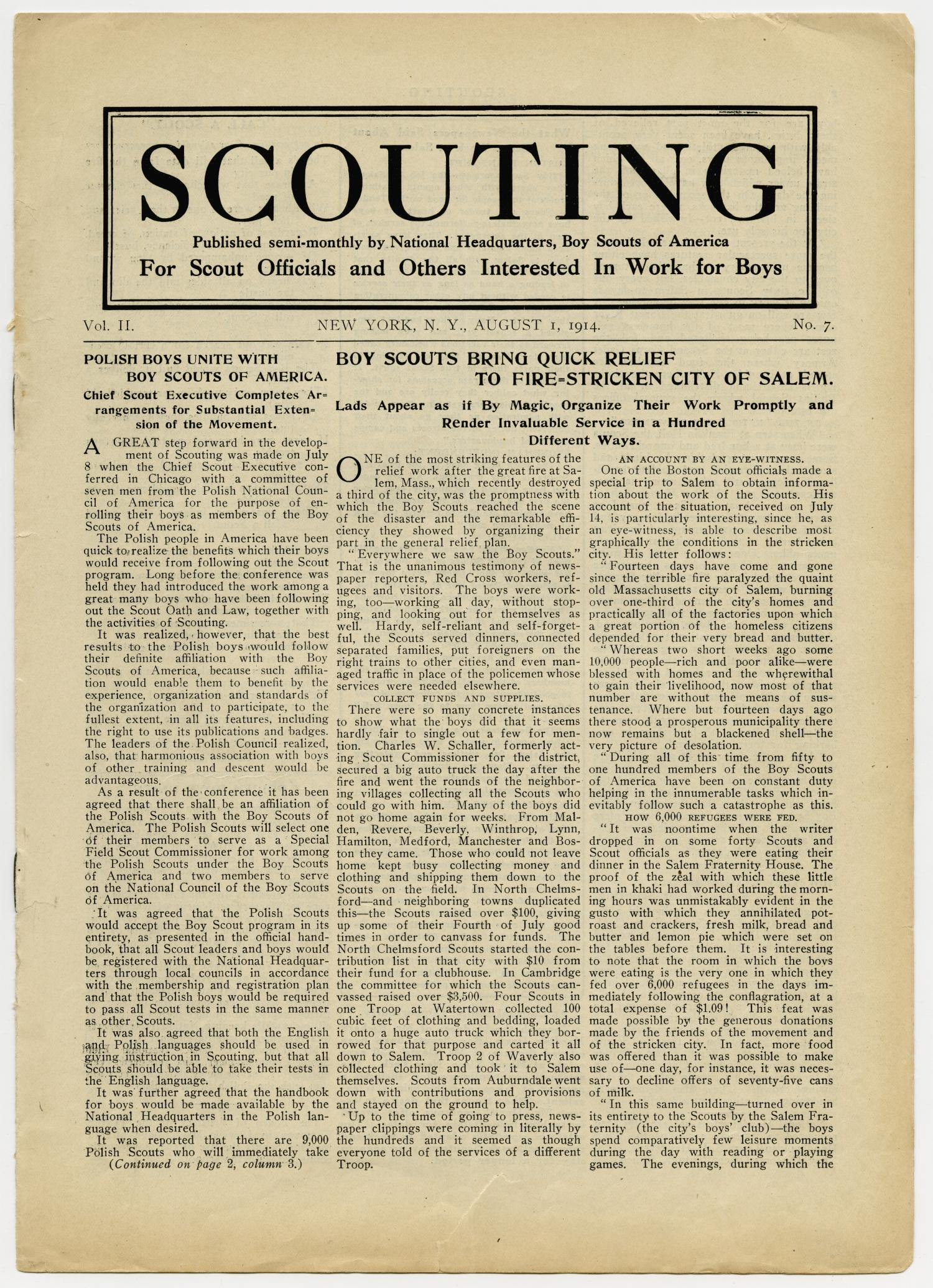 Scouting, Volume 2, Number 7, August 1, 1914                                                                                                      1