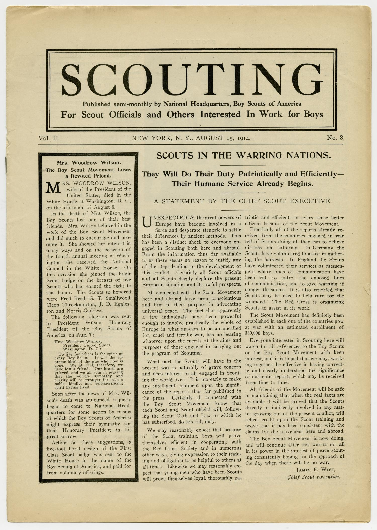 Scouting, Volume 2, Number 8, August 15, 1914                                                                                                      1
