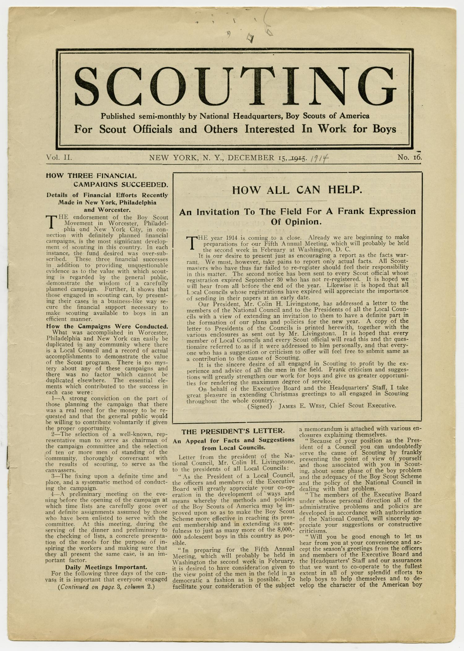 Scouting, Volume 2, Number 16, December 15, 1914                                                                                                      1