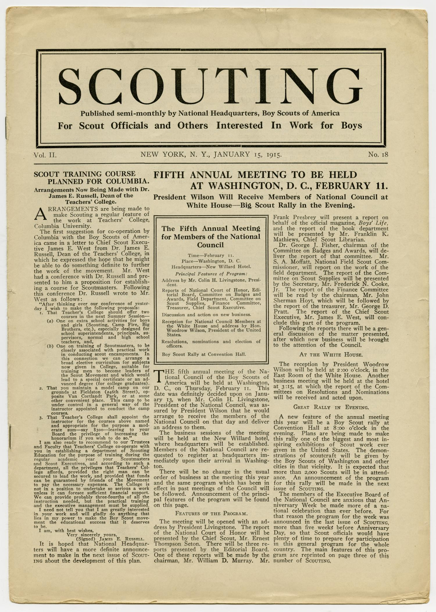Scouting, Volume 2, Number 18, January 15, 1915                                                                                                      1