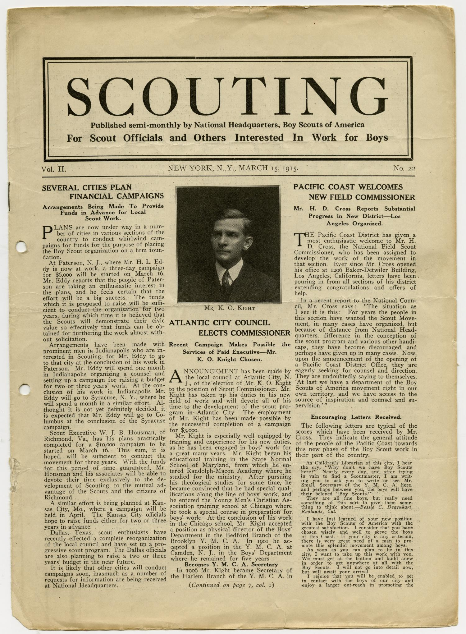 Scouting, Volume 2, Number 22, March 15, 1915                                                                                                      1