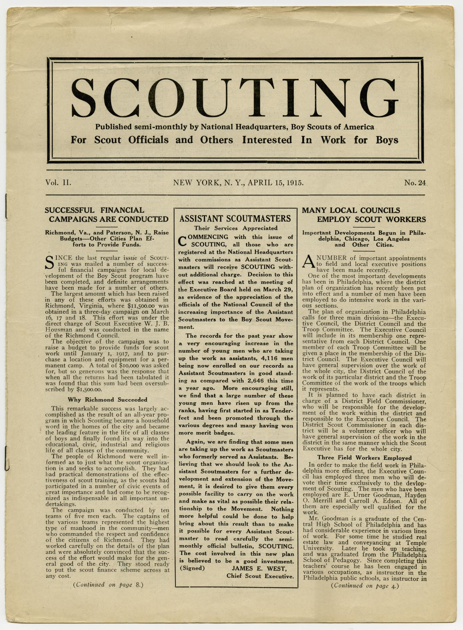 Scouting, Volume 2, Number 24, April 15, 1915                                                                                                      1