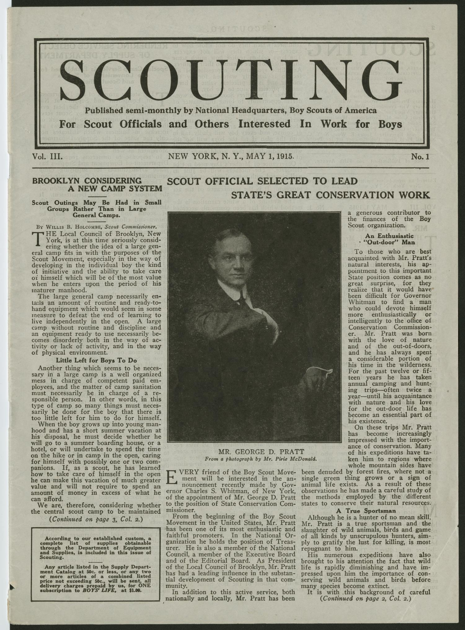 Scouting, Volume 3, Number 1, May 1, 1915                                                                                                      1
