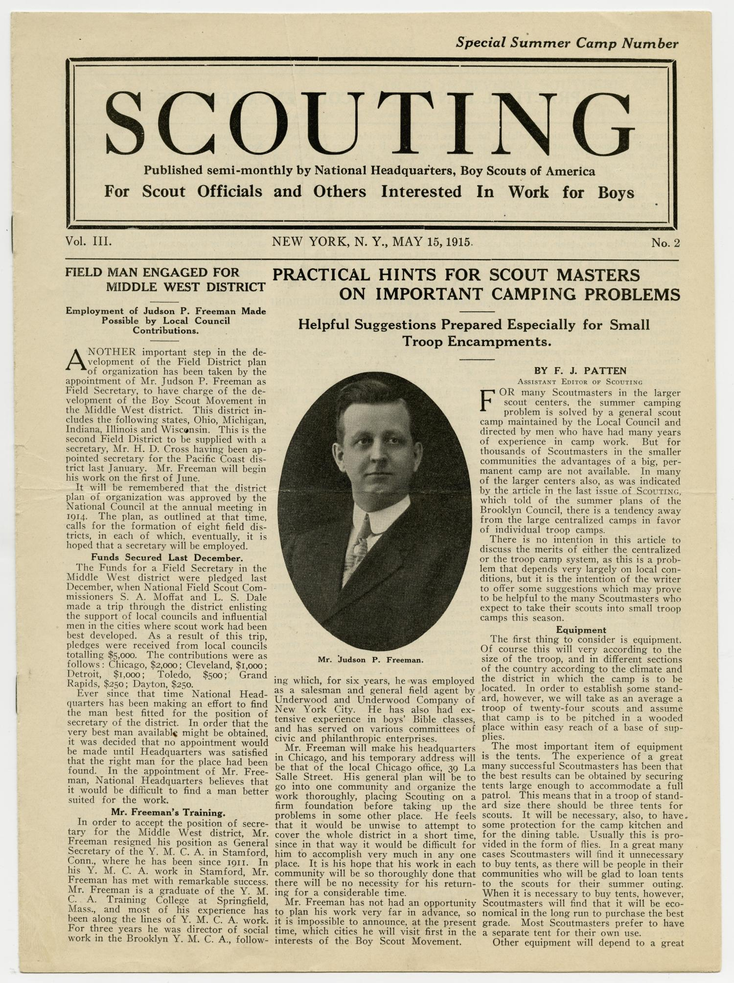 Scouting, Volume 3, Number 2, May 15, 1915                                                                                                      1