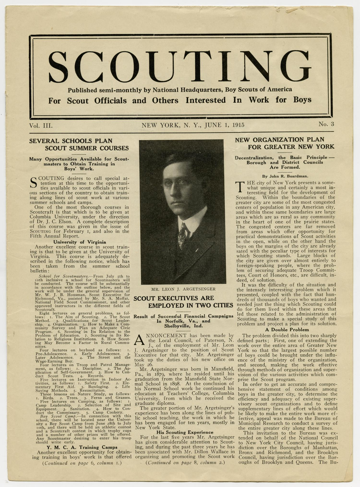 Scouting, Volume 3, Number 3, June 1, 1915                                                                                                      1