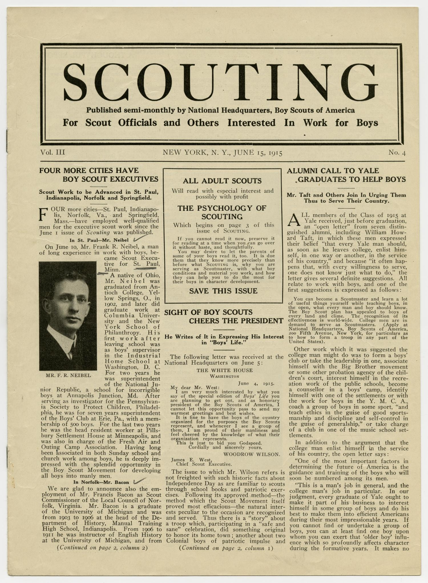 Scouting, Volume 3, Number 4, June 15, 1915                                                                                                      1