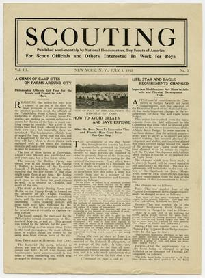 Primary view of object titled 'Scouting, Volume 3, Number 5, July 1, 1915'.