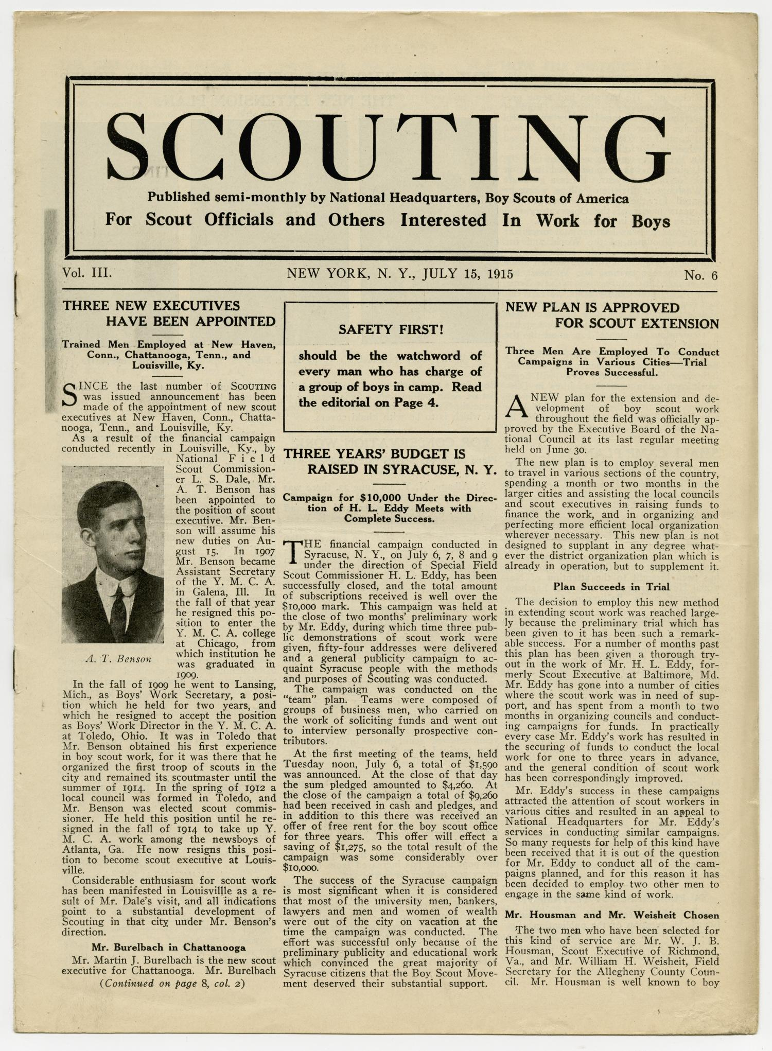 Scouting, Volume 3, Number 6, July 15, 1915                                                                                                      1