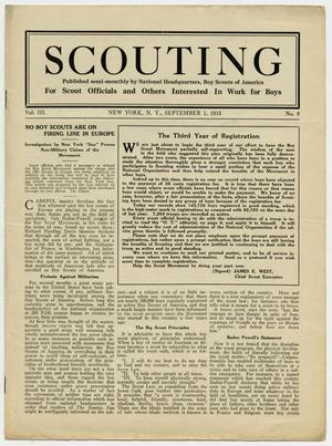 Primary view of object titled 'Scouting, Volume 3, Number 9, September 1, 1915'.