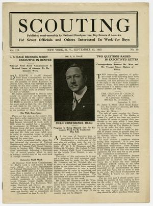 Primary view of object titled 'Scouting, Volume 3, Number 10, September 15, 1915'.