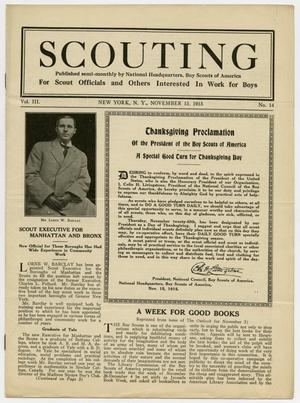 Primary view of object titled 'Scouting, Volume 3, Number 14, November 15, 1915'.