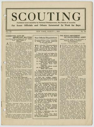 Primary view of object titled 'Scouting, Volume 3, Number 21, March 1, 1916'.