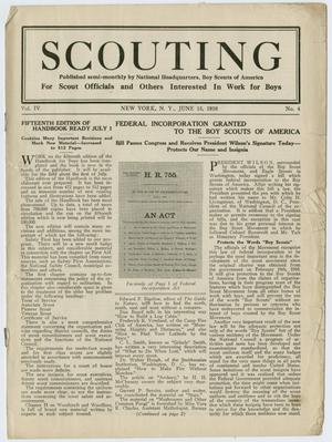 Primary view of object titled 'Scouting, Volume 4, Number 4, June 15, 1916'.