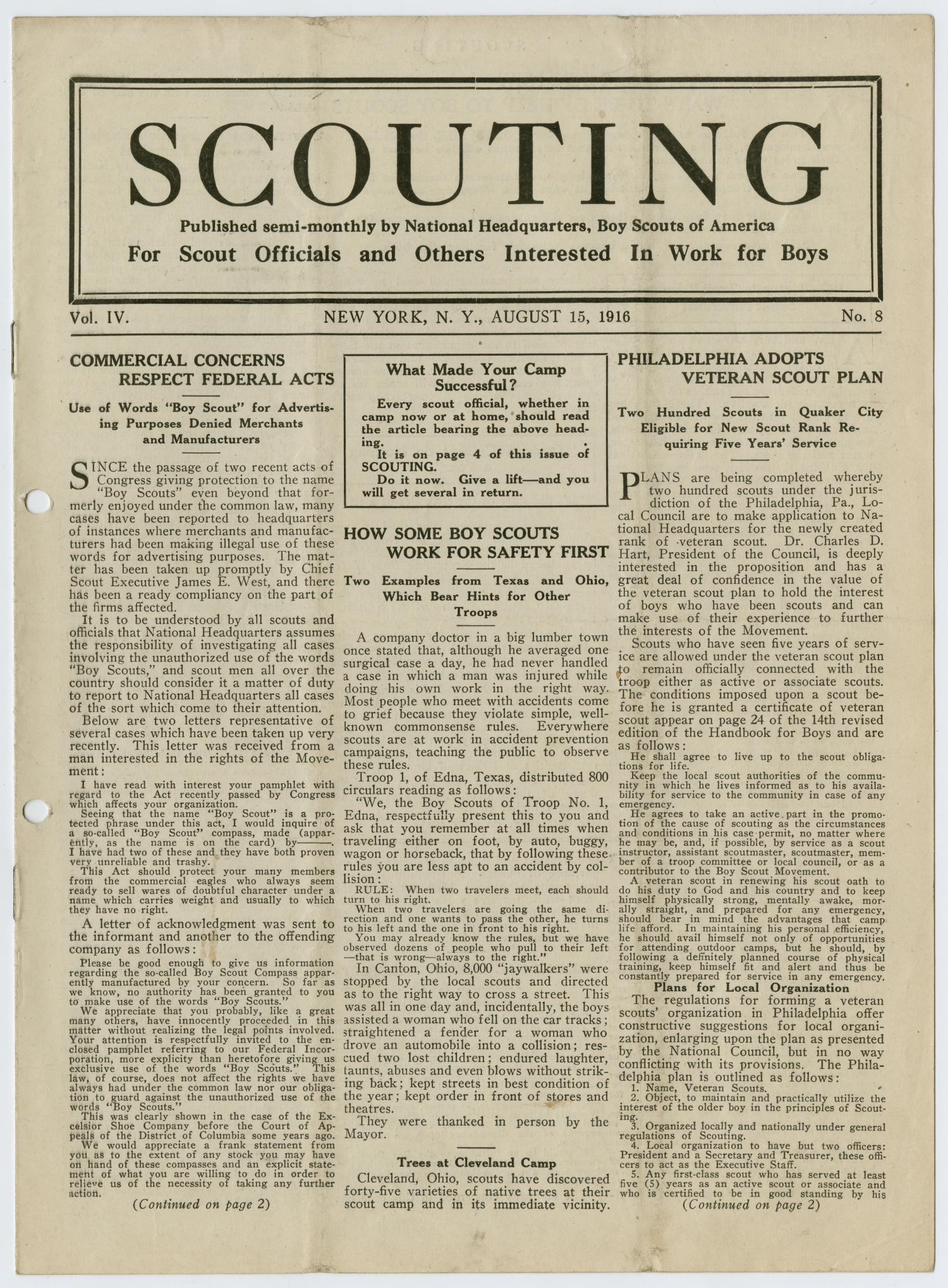 Scouting, Volume 4, Number 8, August 15, 1916                                                                                                      1